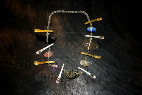 Lemuria Ritual Necklace, silver, gold and brass, with precious and semi- precious stones.