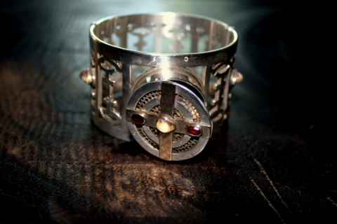 Atlantis Ritual Bracelet, silver and gold, with symbols from the Universal Language of Light.