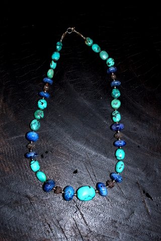 Nepali Necklace, turquoise, lapis lazuli and silver.
