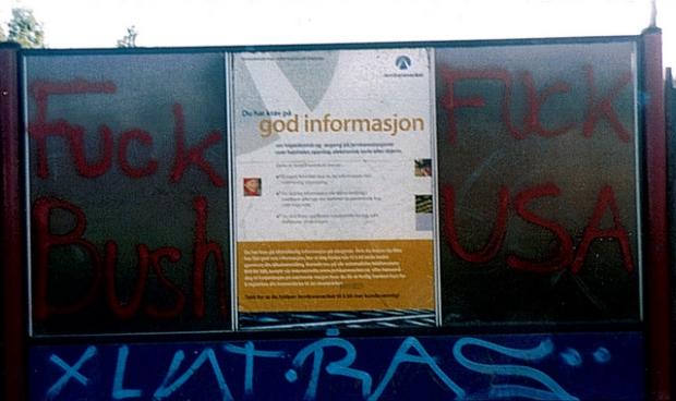 Graffiti at train station in Oslo.