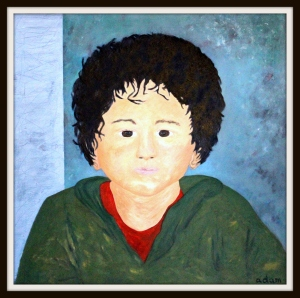 Portrait of my beloved nephew, Austin (oil on canvas, 80 x 80 cm.).