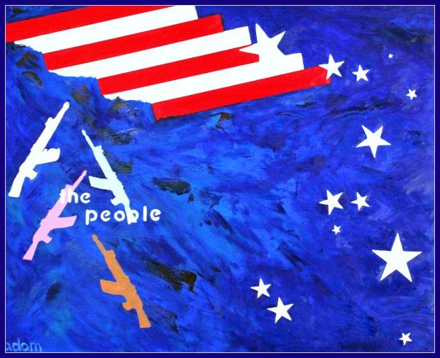 Democracy by gun, oil on canvas, 100x80 cm., 2016.