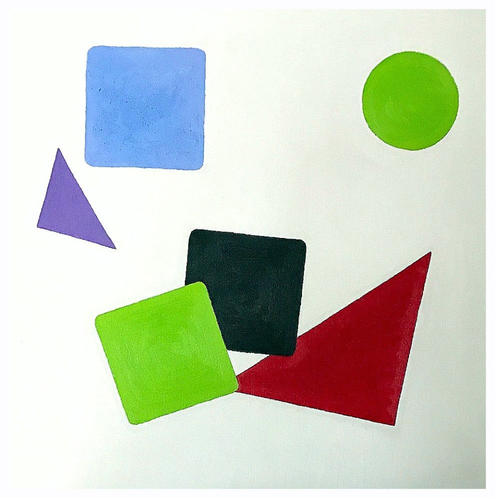 Geometric gossip, 40x40 cm., oil on canvas, 2016-2020.