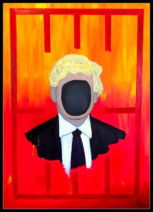 """"""" The Impossible Dream: impeaching and locking up ' The Orange One ' """", 65 x 90 cm., oil on canvas, 2019. Liberals, Democrats and even some Republicans and ex-Cabinet Members seem determined to fulfill their dream of capturing the sly POTUS in their cat-claws. But will they ever succeed in outsmarting the Donald?"""