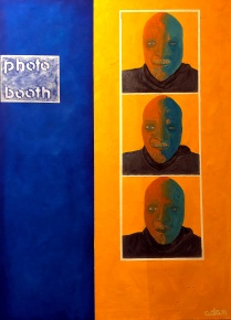"""Painting: Oil on canvas. """"Photo booth"""", 90 x 65 cm., oil on canvas is about the """"old-style"""" selfie-taking ... sitting in a photo booth and being photographed three times. I have attempted to duplicate the feeling of taking photos in a booth -- all the same, yet slightly different -- in order to capture the spontaneity, subjectivity and self-appraisal of The Moment. I also wanted to play with """"graphics"""" in a painterly and semi-realistic way that explores the nakedNess of the experience of being trapped in a box, with little room or time to vary sitting position and expression."""