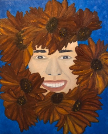 """Libbie is glowing"", 40 x 50 cm., oil on canvas, 2020, is a portrait in a semi-realistic style. Here the sunflowers are abstracted away from the cliché of bright yellow sunbursts epitomized by Van Gogh, and the resultant copper color provides an almost wooden frame around an illumined face. This is a portrait of a strong woman with strong features, but whose inner grace and contagious smile exude immense Light, beauty, and warmth. In this sense, she is an archetype and an icon."