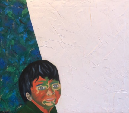 """""""A young artist is inspired by a blank canvas full of possibilities"""", 40 x 30 cm., oil on canvas, 2020. This portrait has as its theme the importance of curiosity in the minds and vision of young developing artists. Nothing pleases a true artist more than a blank canvas -- full of possibilities."""